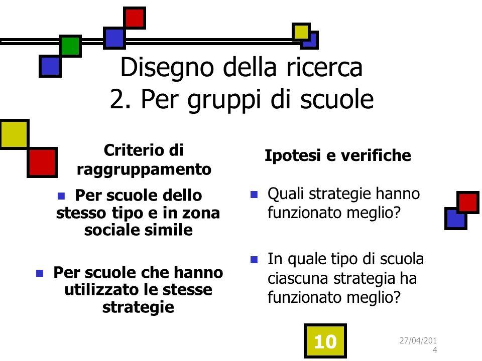 Disegno della ricerca 2. Per gruppi di scuole