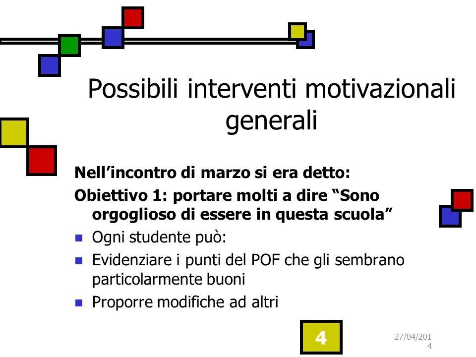 Possibili interventi motivazionali generali