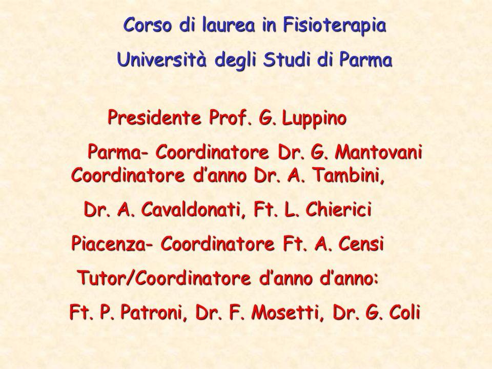 Corso di laurea in Fisioterapia Università degli Studi di Parma