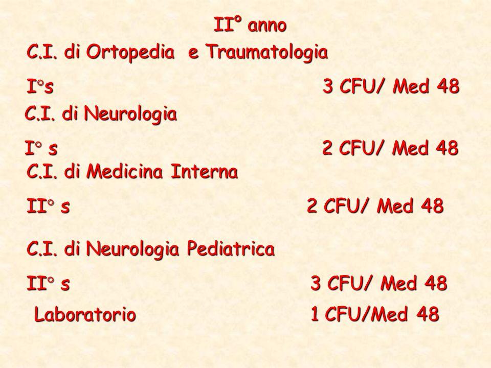 II° anno C.I. di Ortopedia e Traumatologia. I°s 3 CFU/ Med 48.