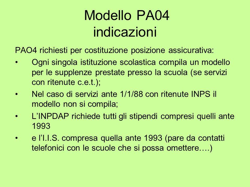 Modello PA04 indicazioni