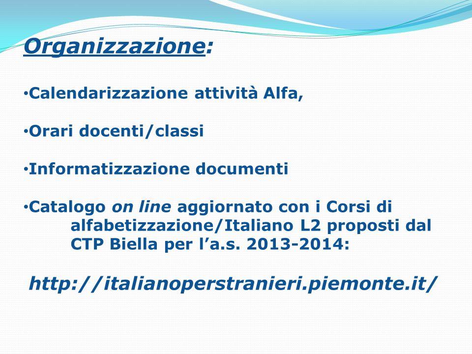 Organizzazione: Calendarizzazione attività Alfa, Orari docenti/classi