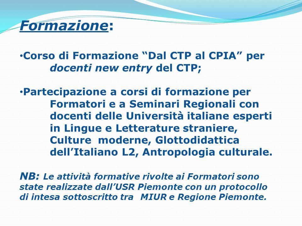 Formazione: Corso di Formazione Dal CTP al CPIA per docenti new entry del CTP;