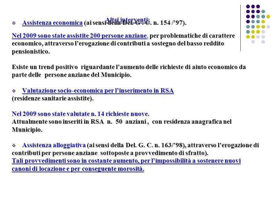 Altri interventi: Assistenza economica (ai sensi della Del. G . C. n. 154 /'97).