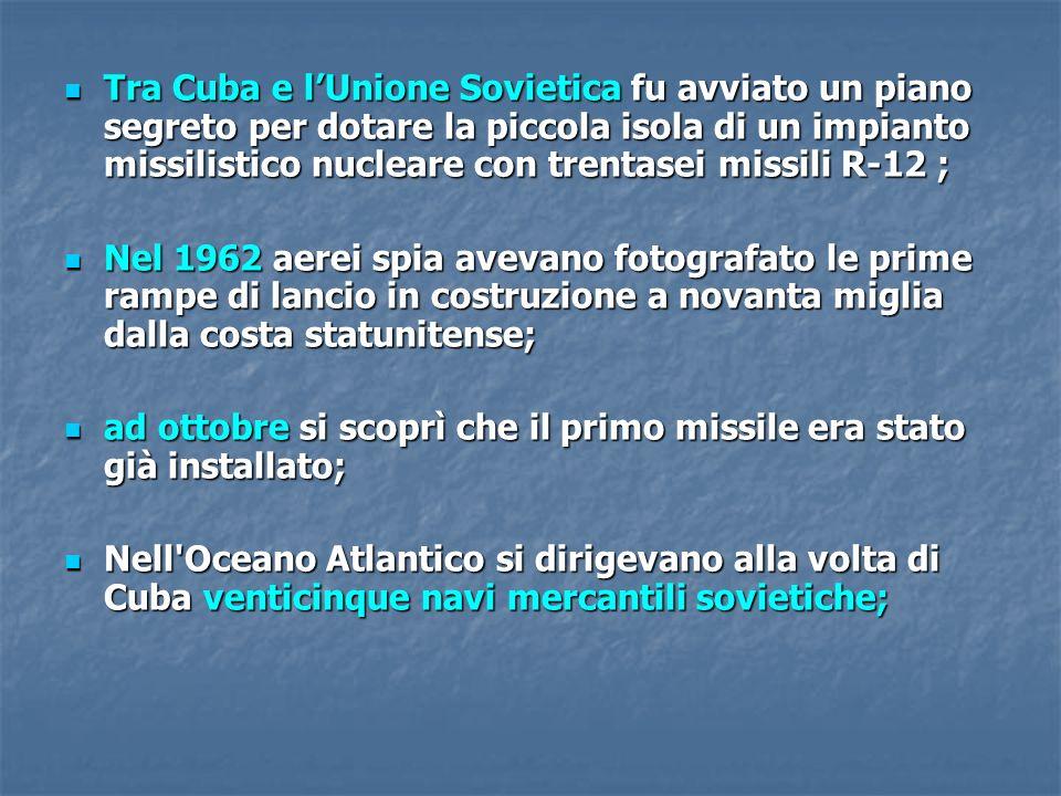 Tra Cuba e l'Unione Sovietica fu avviato un piano segreto per dotare la piccola isola di un impianto missilistico nucleare con trentasei missili R-12 ;