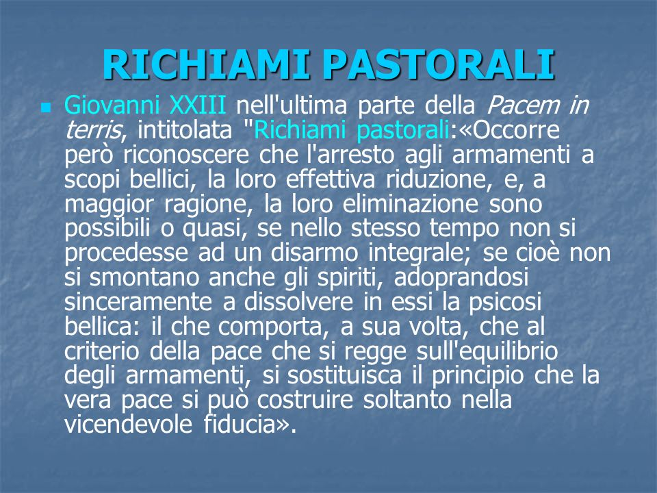 RICHIAMI PASTORALI