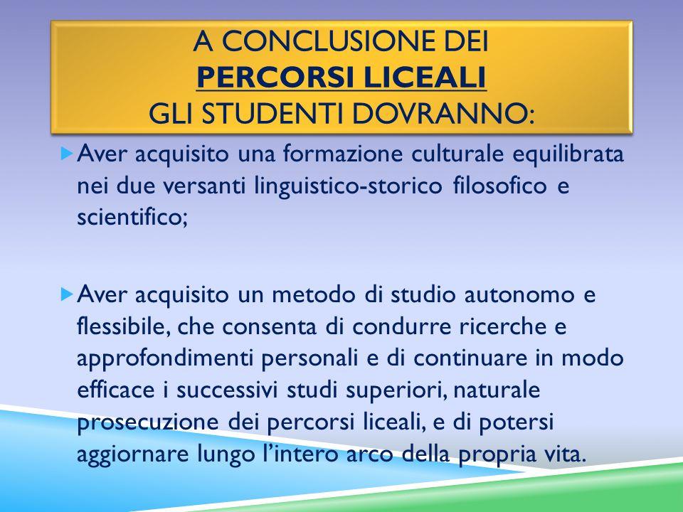 A conclusione dei percorsi liceali gli studenti dovranno:
