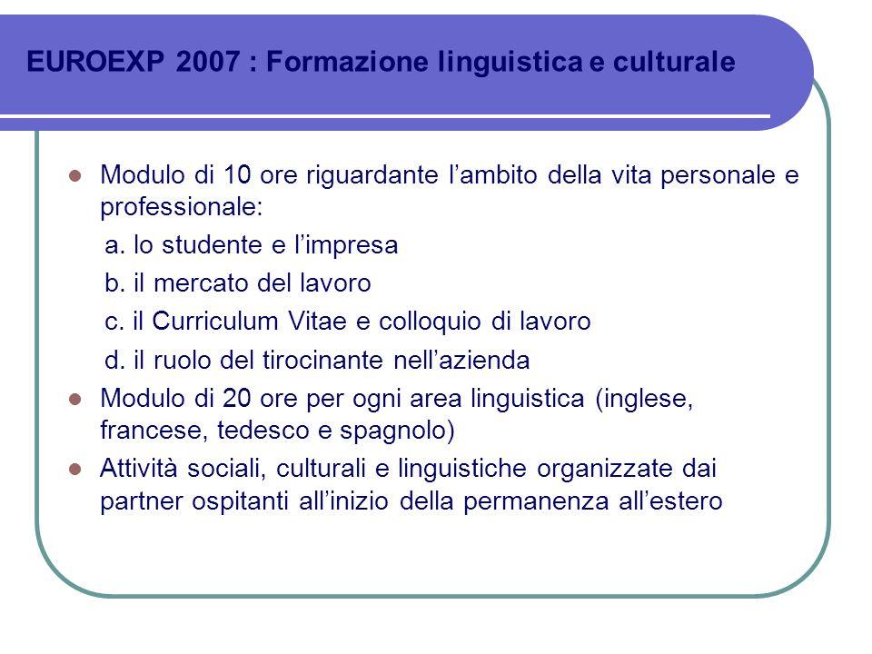 EUROEXP 2007 : Formazione linguistica e culturale