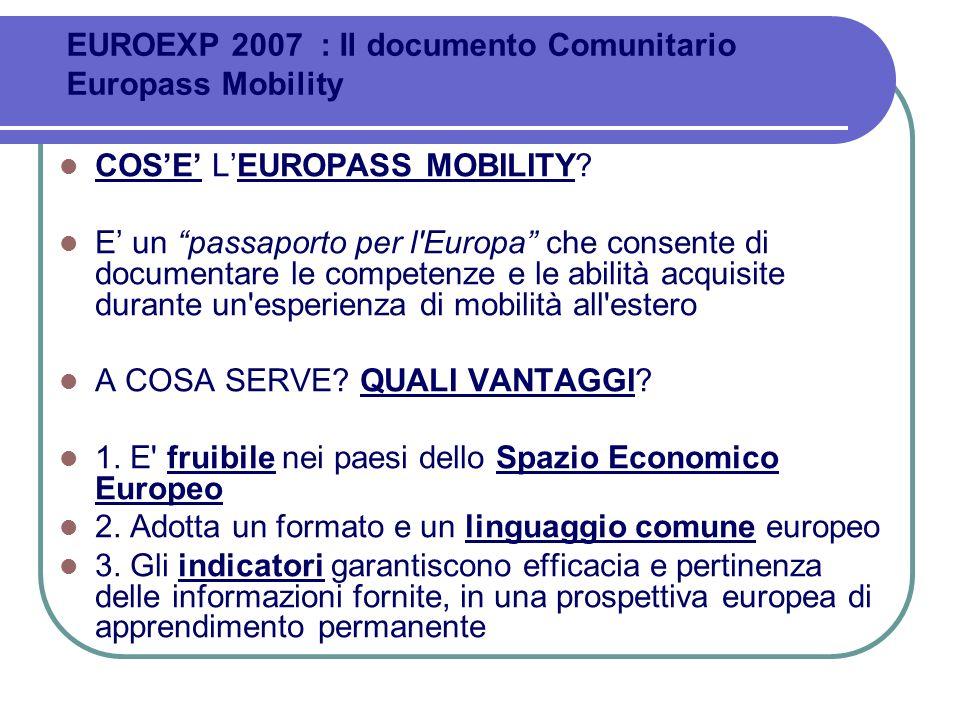 EUROEXP 2007 : Il documento Comunitario