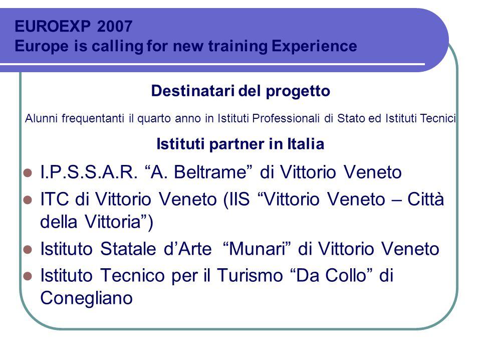 Destinatari del progetto Istituti partner in Italia