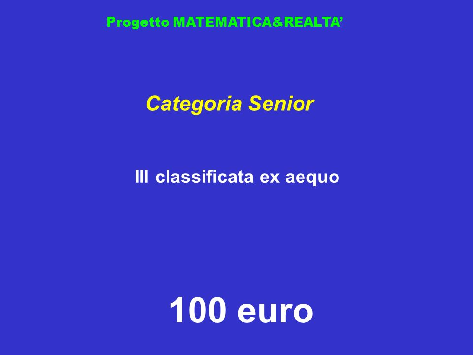 III classificata ex aequo