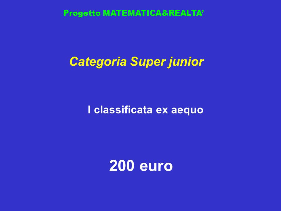 Categoria Super junior I classificata ex aequo
