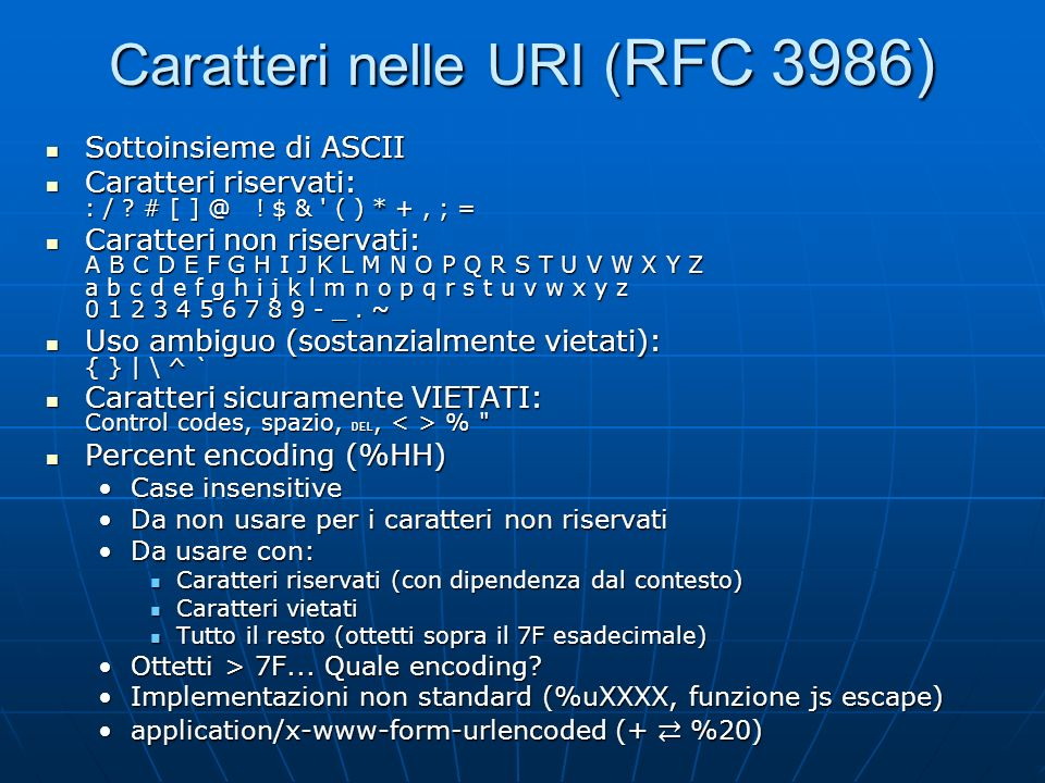 Caratteri nelle URI (RFC 3986)