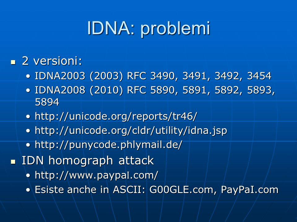 IDNA: problemi 2 versioni: IDN homograph attack