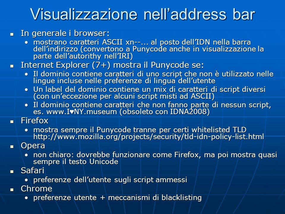 Visualizzazione nell'address bar