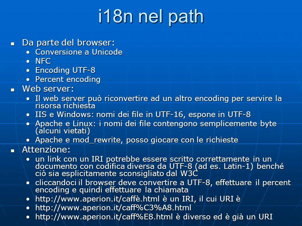 i18n nel path Da parte del browser: Web server: Attenzione:
