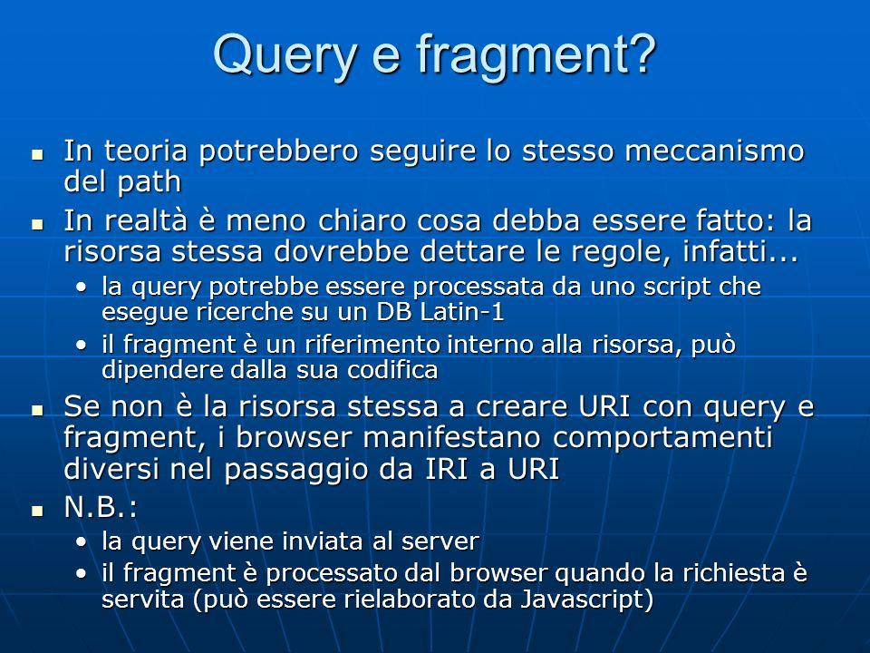 Query e fragment In teoria potrebbero seguire lo stesso meccanismo del path.