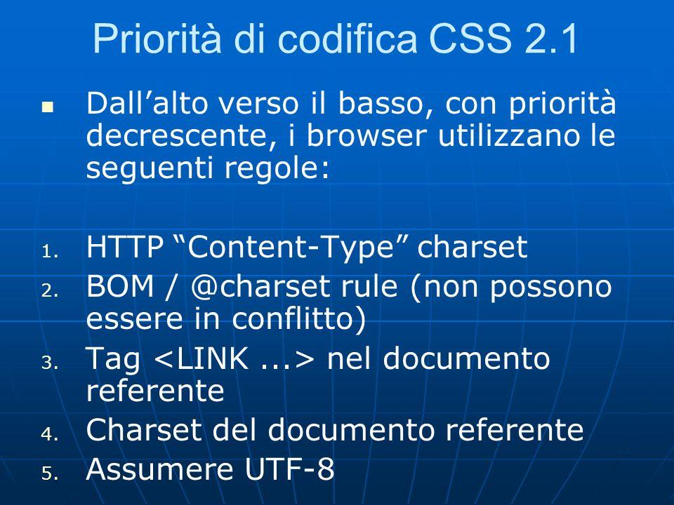 Priorità di codifica CSS 2.1