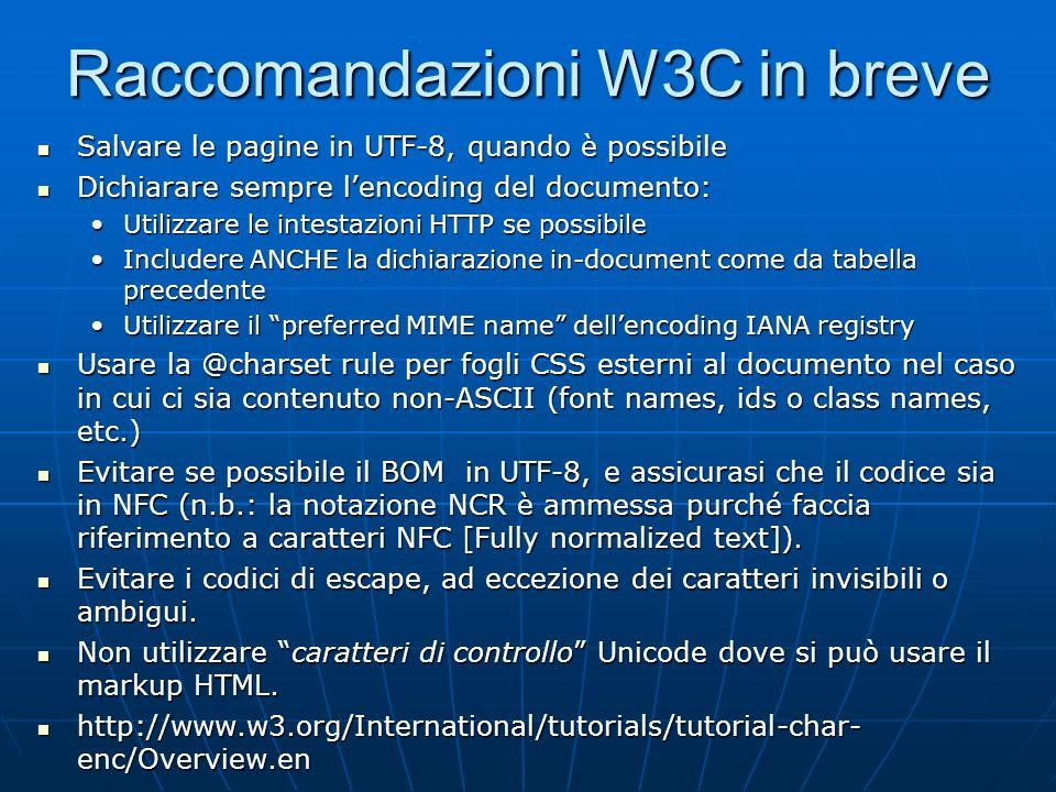 Raccomandazioni W3C in breve
