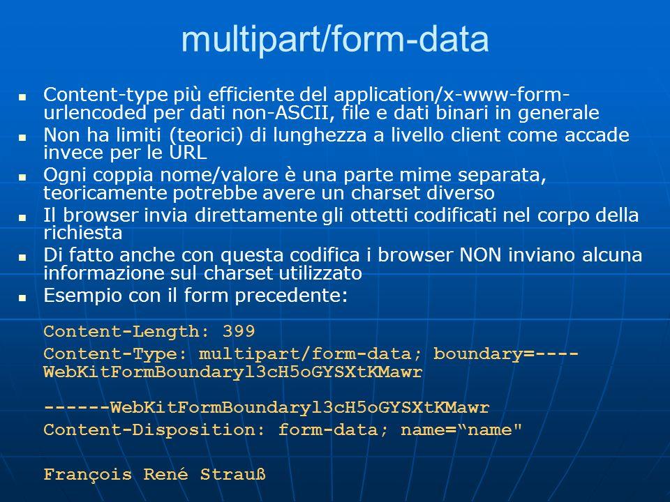 multipart/form-dataContent-type più efficiente del application/x-www-form-urlencoded per dati non-ASCII, file e dati binari in generale.