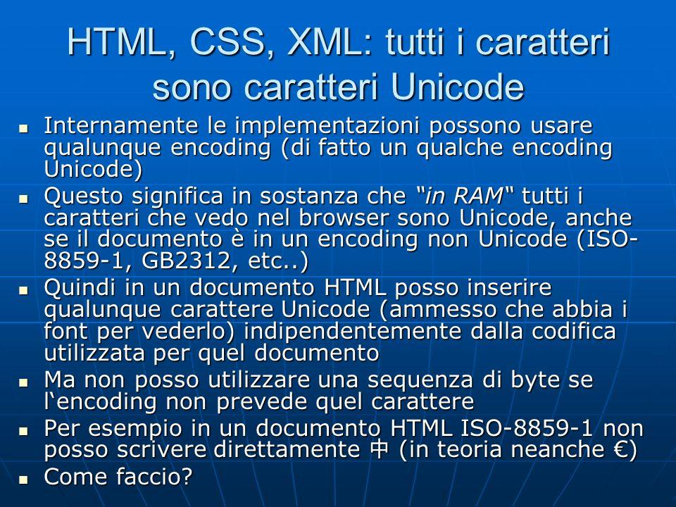 HTML, CSS, XML: tutti i caratteri sono caratteri Unicode
