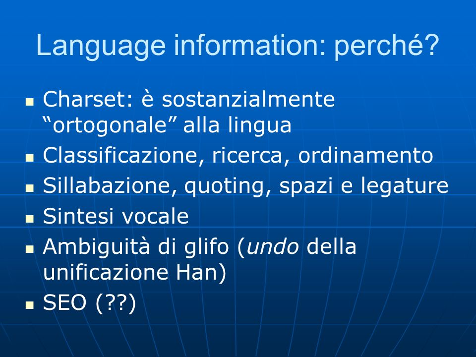 Language information: perché