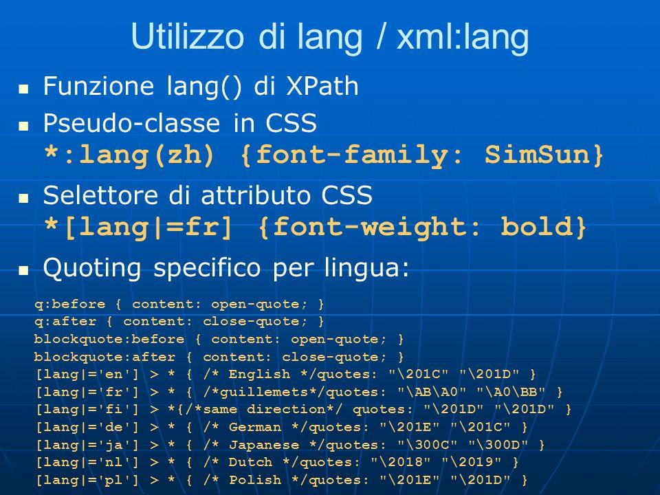 Utilizzo di lang / xml:lang
