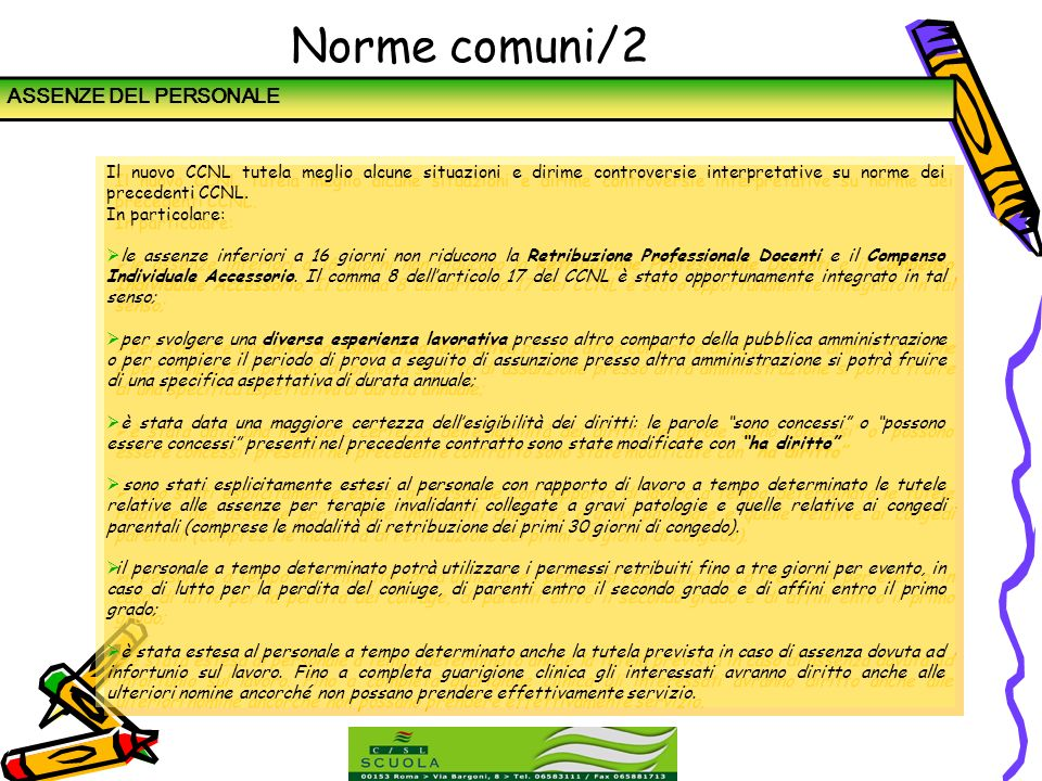 Norme comuni/2 ASSENZE DEL PERSONALE