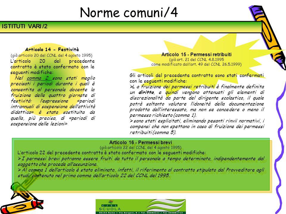 Articolo 15 - Permessi retribuiti Articolo 16 - Permessi brevi