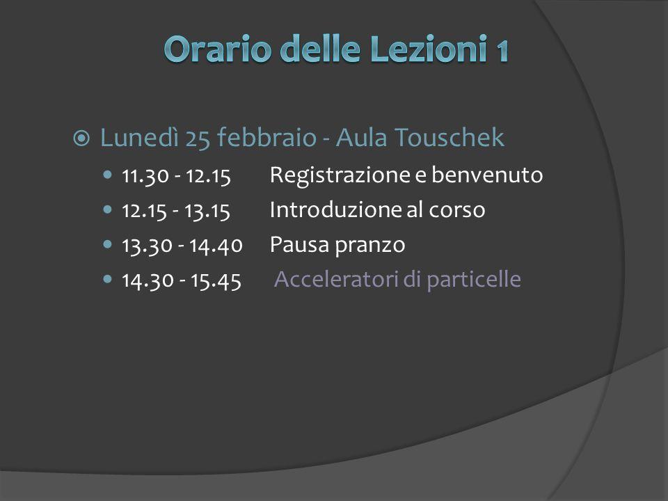 Orario delle Lezioni 1 Lunedì 25 febbraio - Aula Touschek