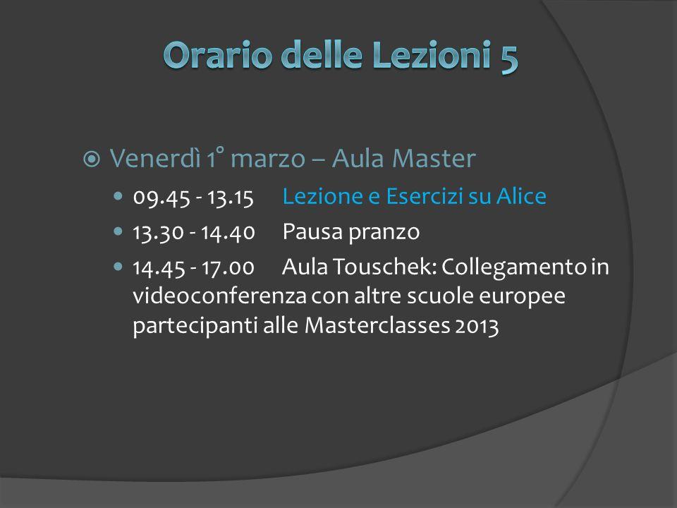 Orario delle Lezioni 5 Venerdì 1° marzo – Aula Master