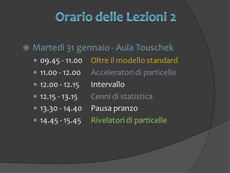 Orario delle Lezioni 2 Martedì 31 gennaio - Aula Touschek