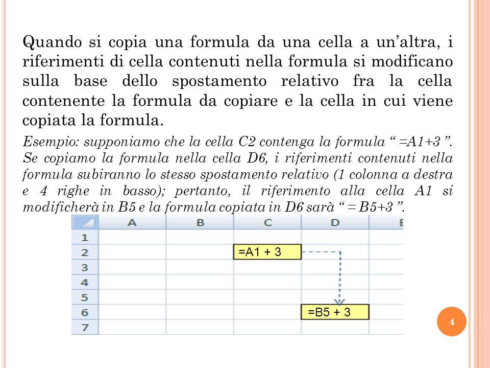 Quando si copia una formula da una cella a un'altra, i riferimenti di cella contenuti nella formula si modificano sulla base dello spostamento relativo fra la cella contenente la formula da copiare e la cella in cui viene copiata la formula.