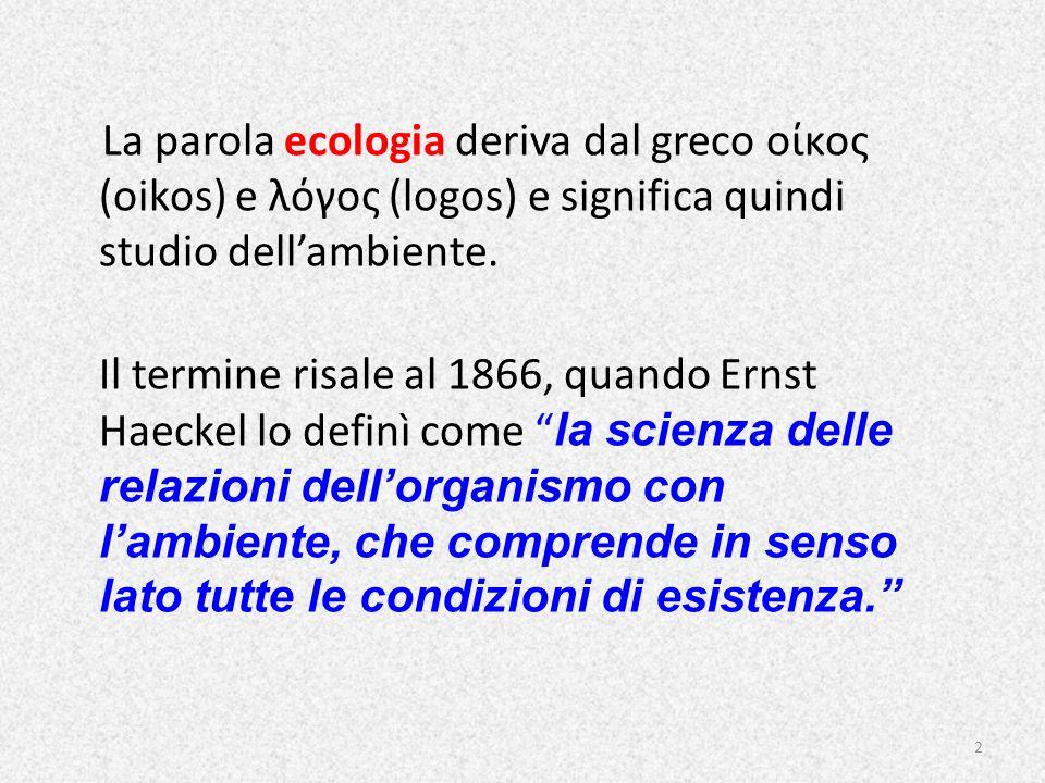 La parola ecologia deriva dal greco οίκος (oikos) e λόγος (logos) e significa quindi studio dell'ambiente.