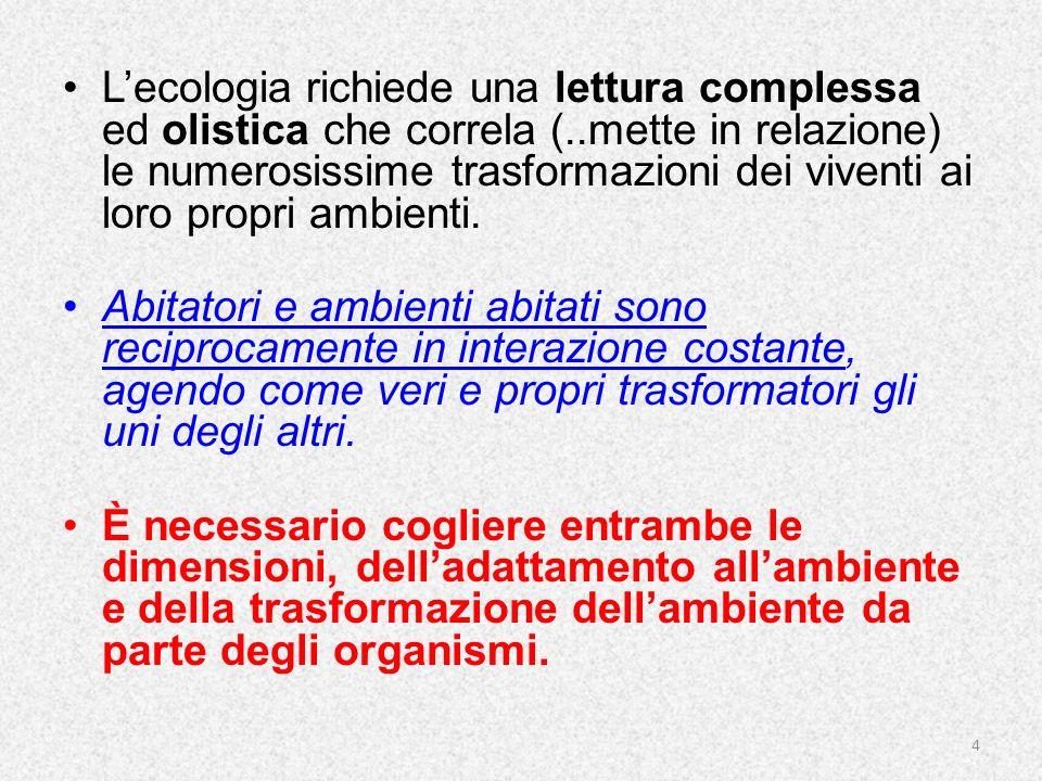 L'ecologia richiede una lettura complessa ed olistica che correla (