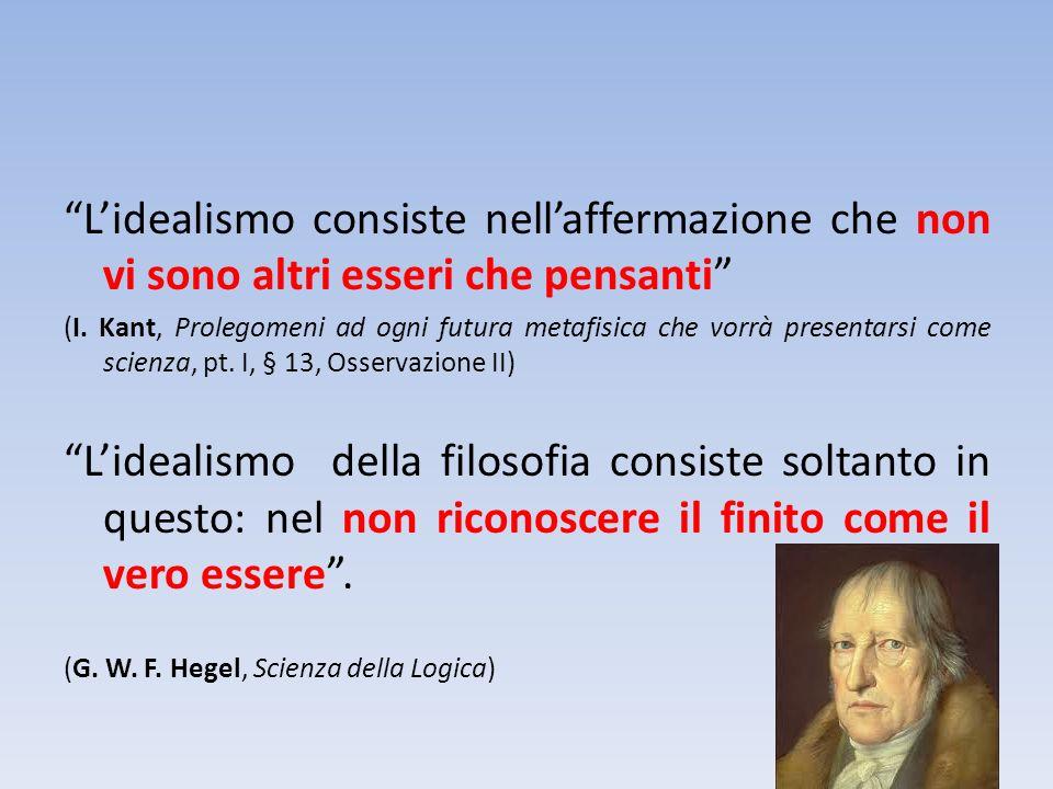 L'idealismo consiste nell'affermazione che non vi sono altri esseri che pensanti