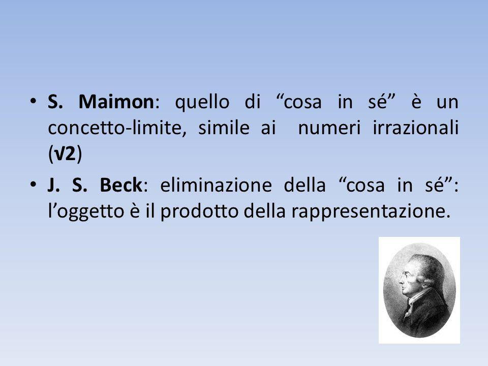 S. Maimon: quello di cosa in sé è un concetto-limite, simile ai numeri irrazionali (√2)