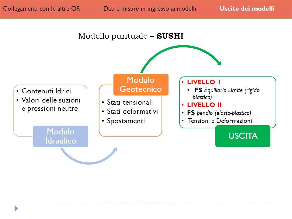 Modulo Geotecnico Modulo Idraulico USCITA Modello puntuale – SUSHI
