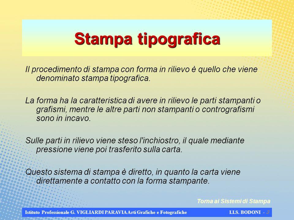 Stampa tipografica Il procedimento di stampa con forma in rilievo è quello che viene denominato stampa tipografica.