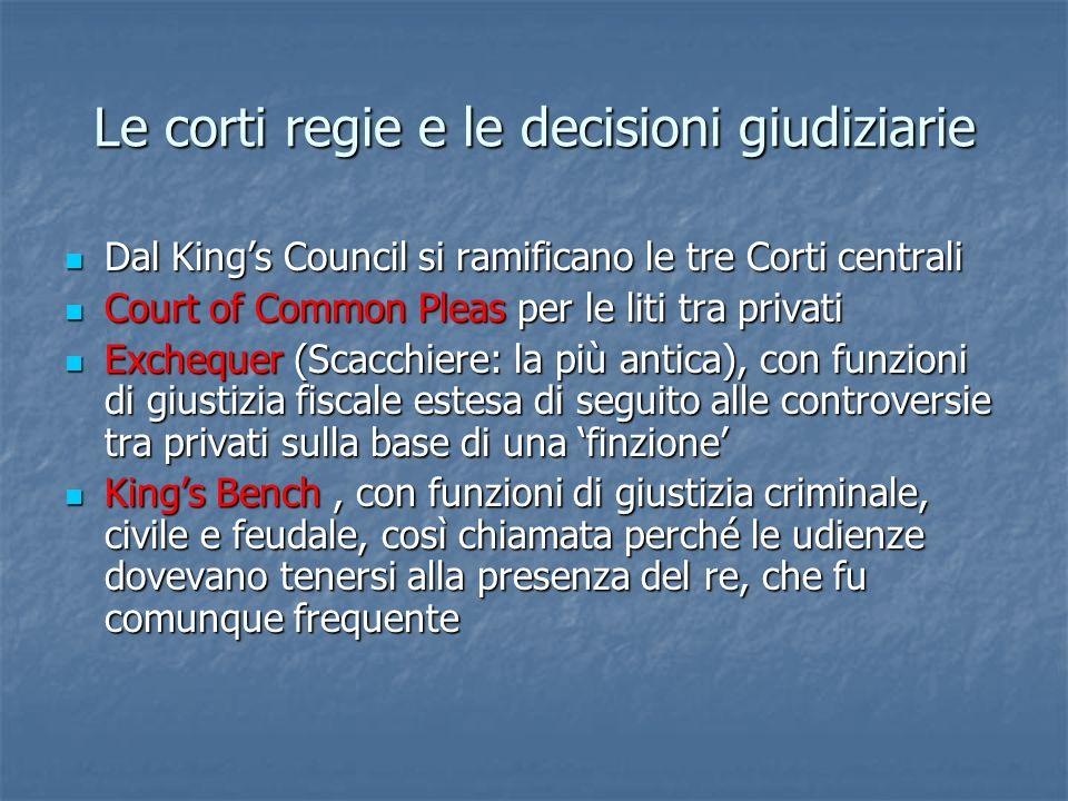 Le corti regie e le decisioni giudiziarie