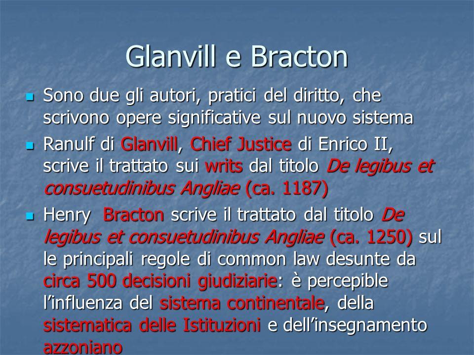 Glanvill e Bracton Sono due gli autori, pratici del diritto, che scrivono opere significative sul nuovo sistema.