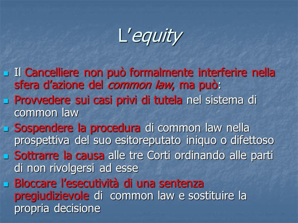 L'equity Il Cancelliere non può formalmente interferire nella sfera d'azione del common law, ma può:
