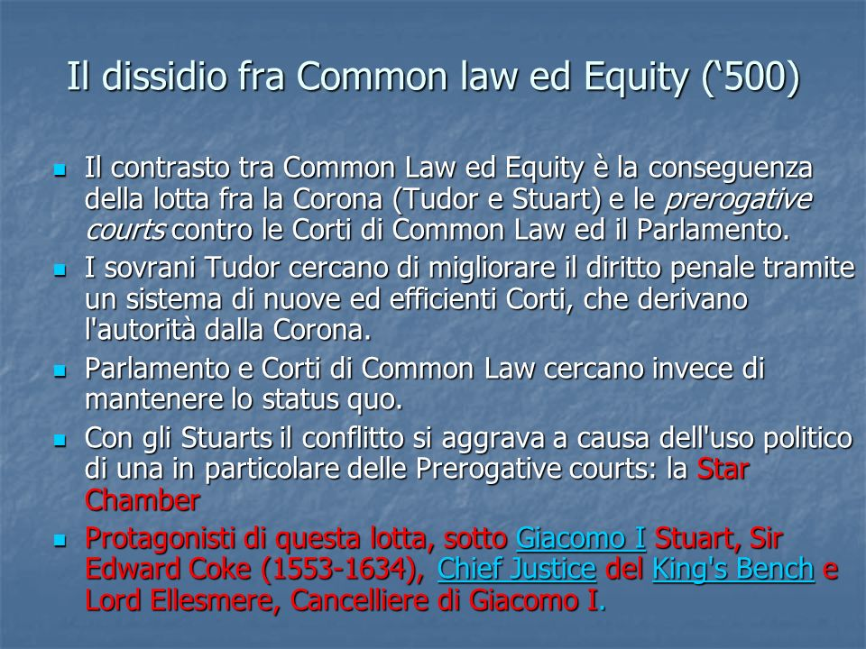 Il dissidio fra Common law ed Equity ('500)