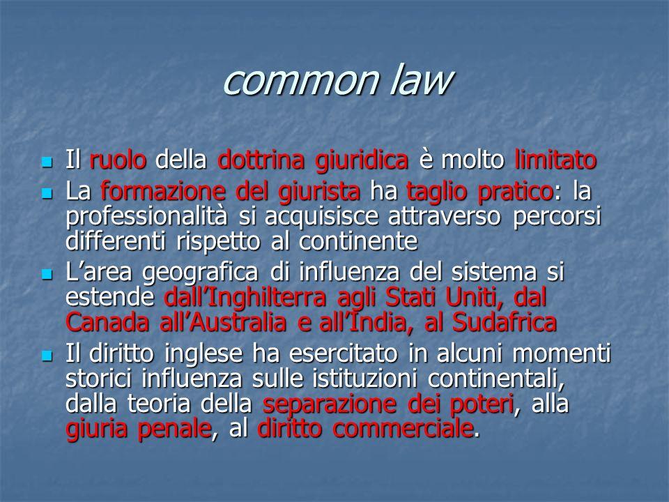 common law Il ruolo della dottrina giuridica è molto limitato