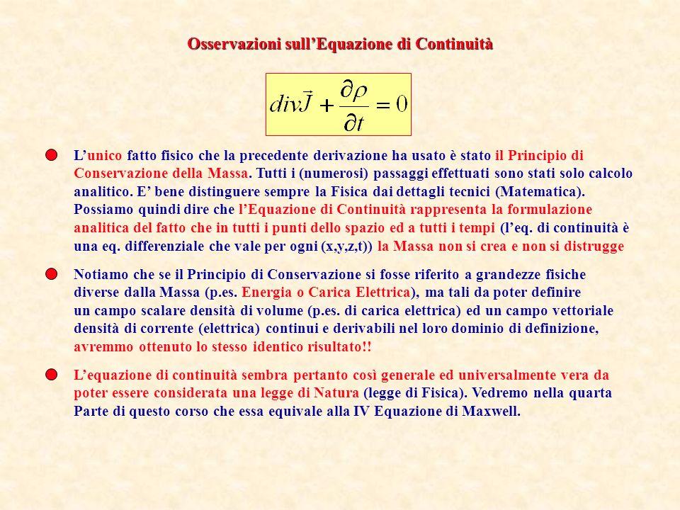 Osservazioni sull'Equazione di Continuità