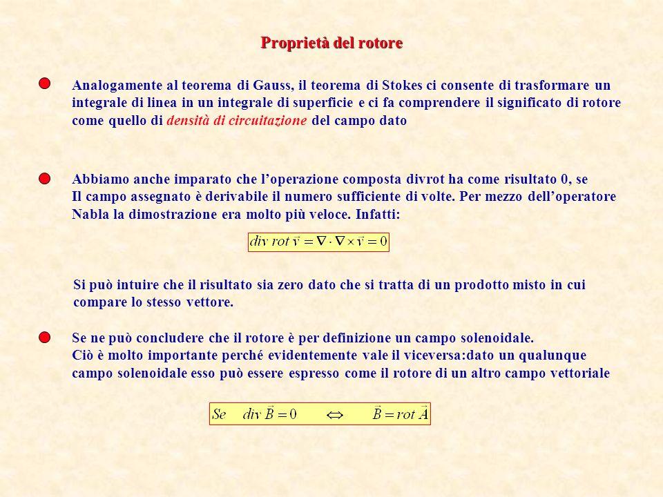 Proprietà del rotore Analogamente al teorema di Gauss, il teorema di Stokes ci consente di trasformare un.