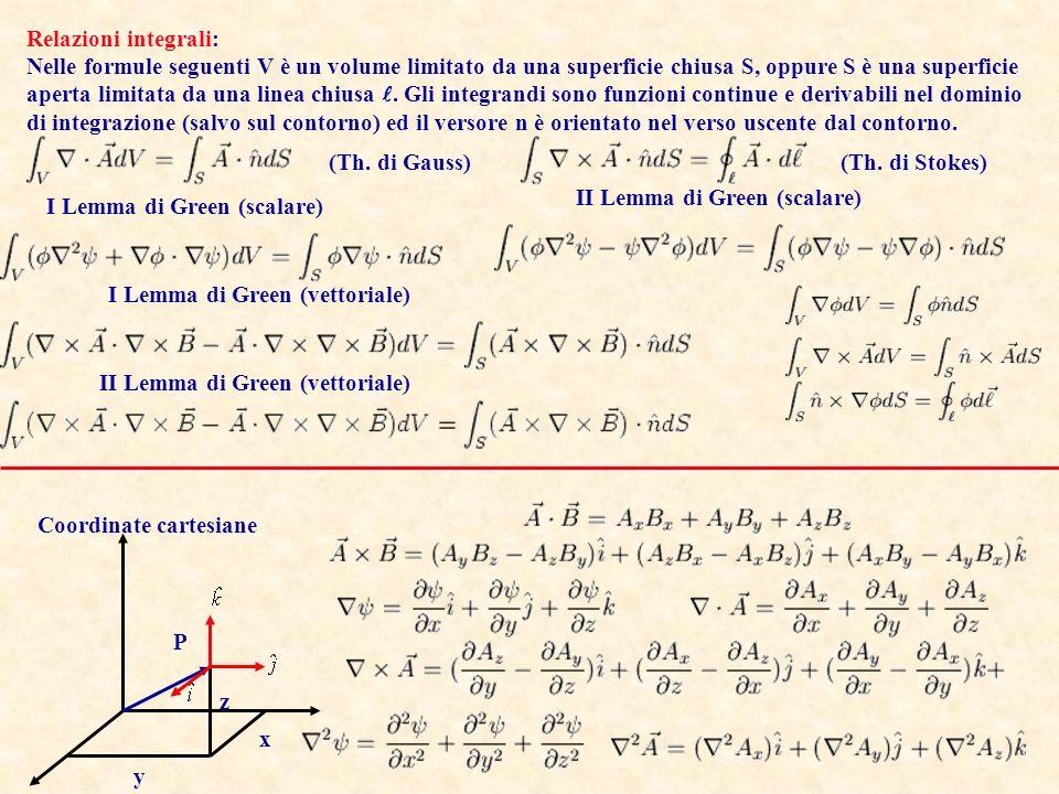 Relazioni integrali: Nelle formule seguenti V è un volume limitato da una superficie chiusa S, oppure S è una superficie.
