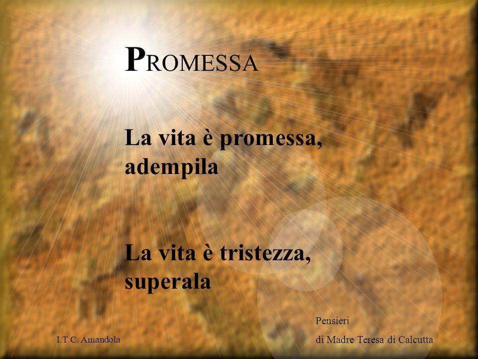 PROMESSA La vita è promessa, adempila La vita è tristezza, superala