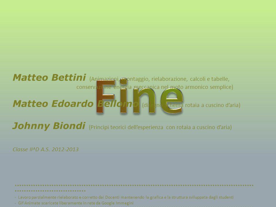 Fine Matteo Bettini (Animazioni, montaggio, rielaborazione, calcoli e tabelle, conservazione energia meccanica nel moto armonico semplice)