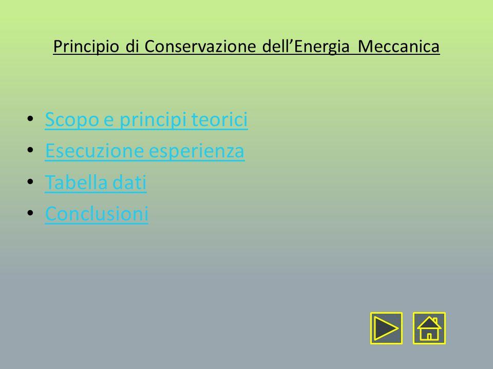 Principio di Conservazione dell'Energia Meccanica